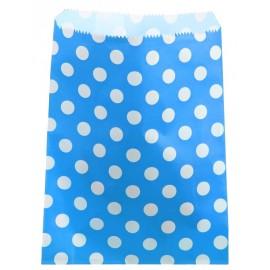 Sachets papier turquoise à pois blancs 18 cm les 24