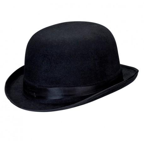 Chapeau melon noir velours adulte