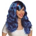 Perruque bleue mi-longue ondulée femme