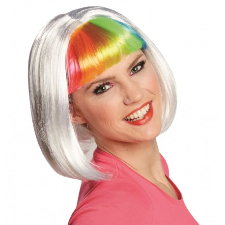 Perruque blond platine courte frange arc-en-ciel femme