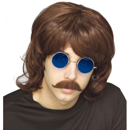 Perruque 70's brune homme