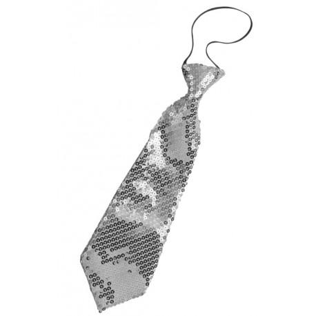 Cravate à paillettes argent adulte