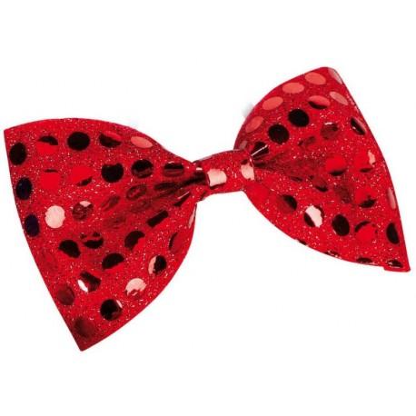 Noeud papillon à paillettes rouge adulte 11 x 6 cm