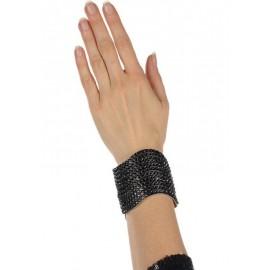 Bracelet large noir à paillettes femme (Bijou)
