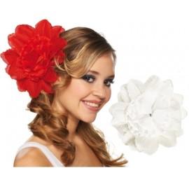 Pince à cheveux fleur blanche (double fleurs) 20 cm