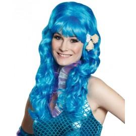 Perruque sirène bleue longue femme