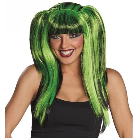 Perruque longue verte et noire femme