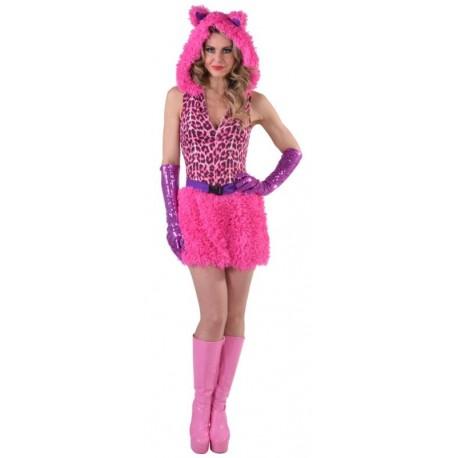 Déguisement chat léopard rose fuchsia femme luxe