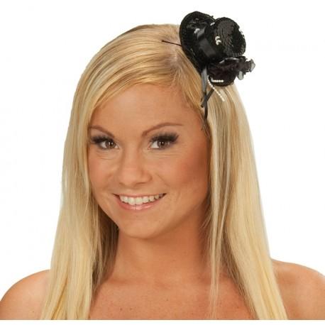 Mini chapeau de soirée noir à sequin femme