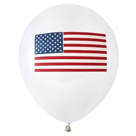 Ballons blancs drapeau américain USA 23 cm les 8