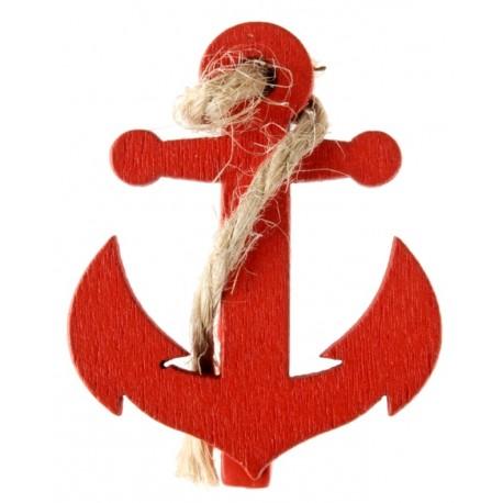 Ancre de bateau rouge sur pince déco les 4
