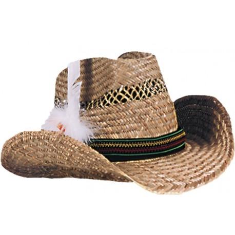 Chapeau cowboy Dallas en paille adulte