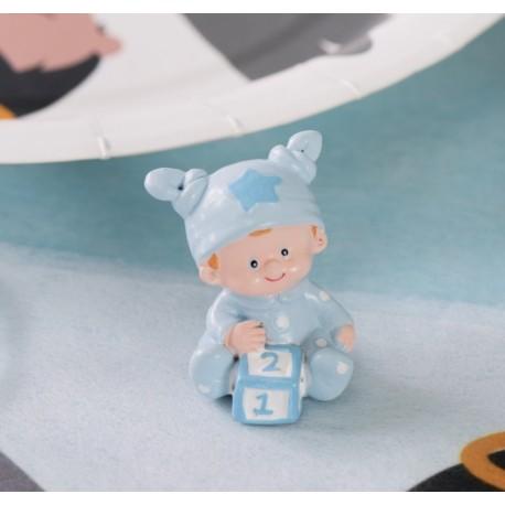 Figurine baptême bébé garçon bleu ciel 4 cm les 20