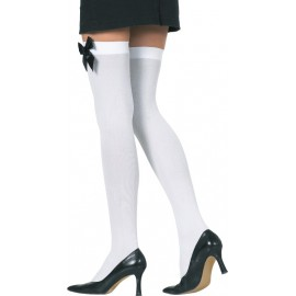 Bas blancs opaques avec noeud noir femme