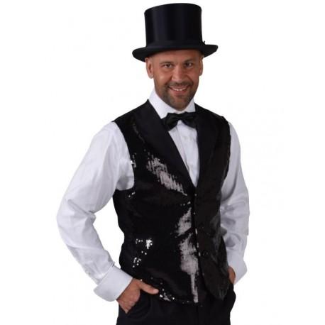 Déguisement gilet noir paillettes sequin homme luxe