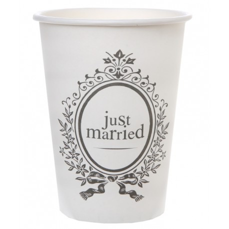 Gobelet carton Just Married blancs les 10