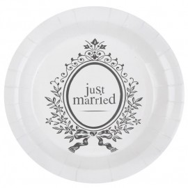 Assiette carton Just Married 22.5 cm les 10
