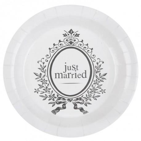 Assiette carton Just Married 22.5 cm les 10