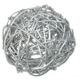 Boules rotin argent 9 cm les 4