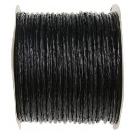 Cordon papier métallisé armé noir (laitonné) 20 M