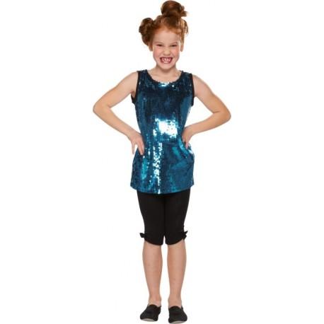 Déguisement disco bleu à paillettes fille