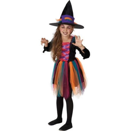 Déguisement sorcière fille multicolore