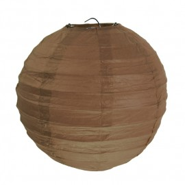 Lanternes boule chinoise papier chocolat 20 cm les 2
