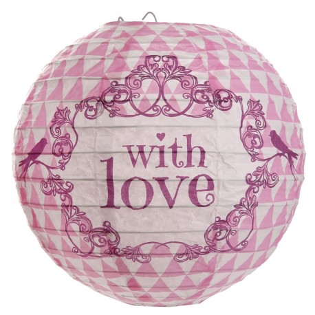Lanterne boule papier vintage with love rose 20 cm les 2