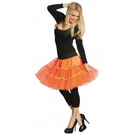 Déguisement Jupon tulle néon orange femme
