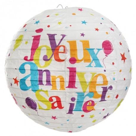 Lanterne boule papier joyeux anniversaire festif 20 cm les 2