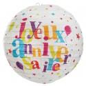 Lanternes boule papier joyeux anniversaire festif 20 cm les 2