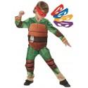 Déguisement Tortues Ninja garçon TMNT Deluxe avec 4 masques