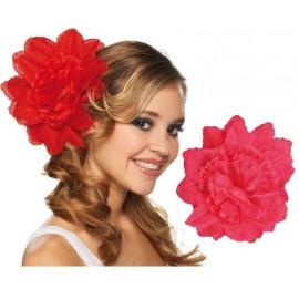 Pince à cheveux fleur fuchsia (double fleurs) 20 cm