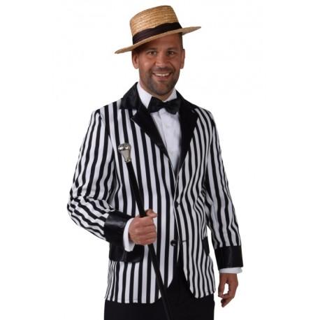 Déguisement veste rayée noir et blanc homme luxe