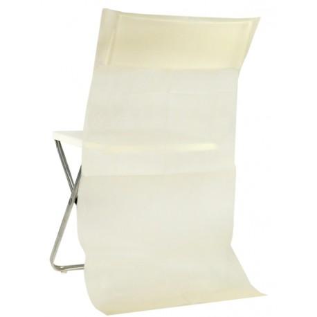 Housse dossier de chaise intiss ivoire les 50 - Housse de chaise dossier rond ...