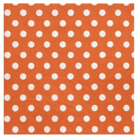 Serviette de table orange à pois en papier les 20