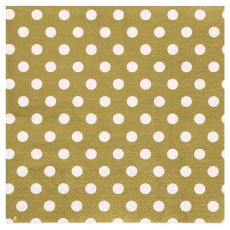 Serviettes de table or à pois en papier les 20