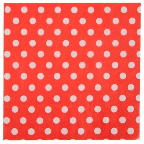 Serviette de table rouge à pois en papier les 20