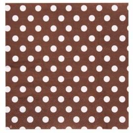 Serviette papier chocolat à pois Serviette de table