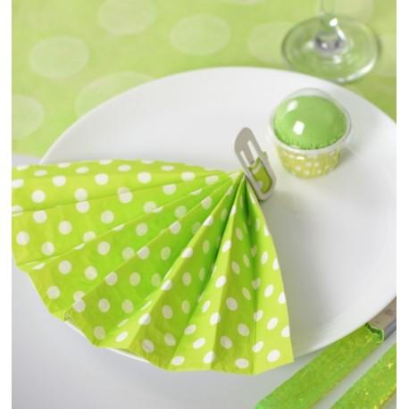 serviette papier vert anis pois les 20 serviette de table. Black Bedroom Furniture Sets. Home Design Ideas