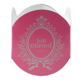 Rond de Serviette Just Married Fuchsia les 6