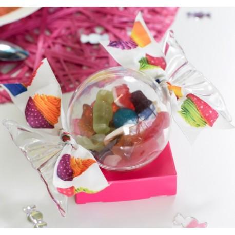 Boîte à dragées Bonbon plexi transparent 14.8 cm les 20