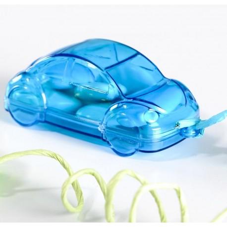 Boîte à dragées voiture plexi turquoise 8 cm les 48