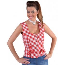 Déguisement bustier tyrolien vichy rouge femme luxe