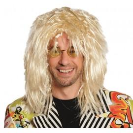 Perruque mi-longue blonde homme