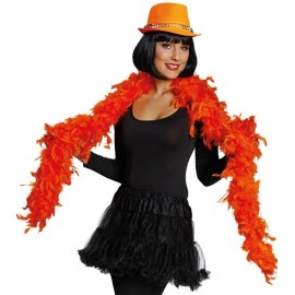 Boa néon orange en plumes 70 grs - 1.80 M
