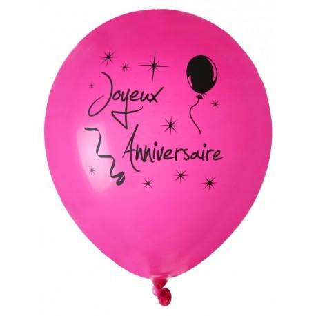 Ballon joyeux anniversaire fuchsia noir 23 cm les 8