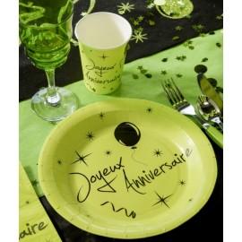 Assiette carton joyeux anniversaire vert anis 22.5 cm les 10