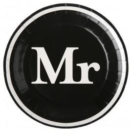 Assiette carton Mr & Mrs noir blanc Mr 22.5 cm les 10