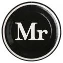 Assiettes carton Mr & Mrs noir blanc Mr 22.5 cm les 10